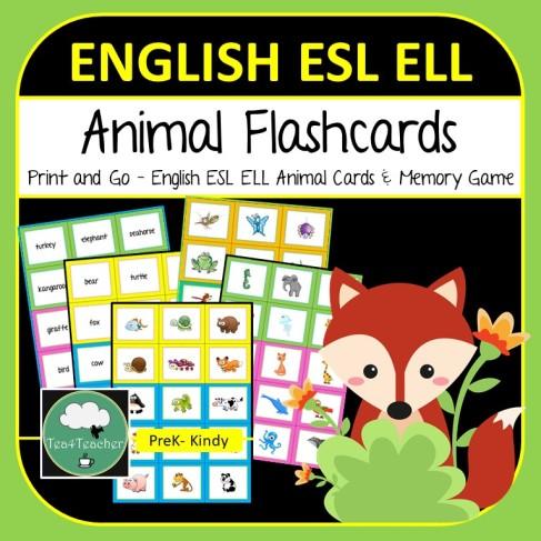 Animal Flashcards ESL ELL COVER