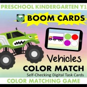 boom cards vehicles color matching game